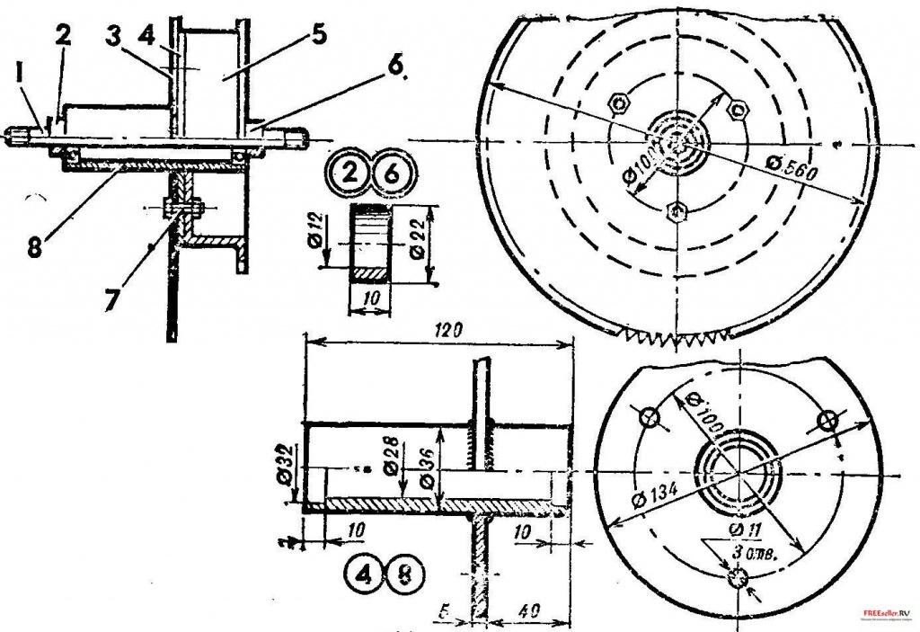 чертижи углоповоротного узла на дисковой пилораме самоделкины старшим