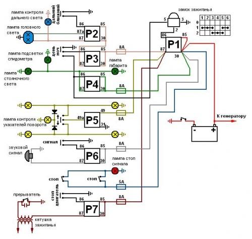 Как собрать электрическую схему поворотников на мотоцикле мотоцикл на гарячую не заводится