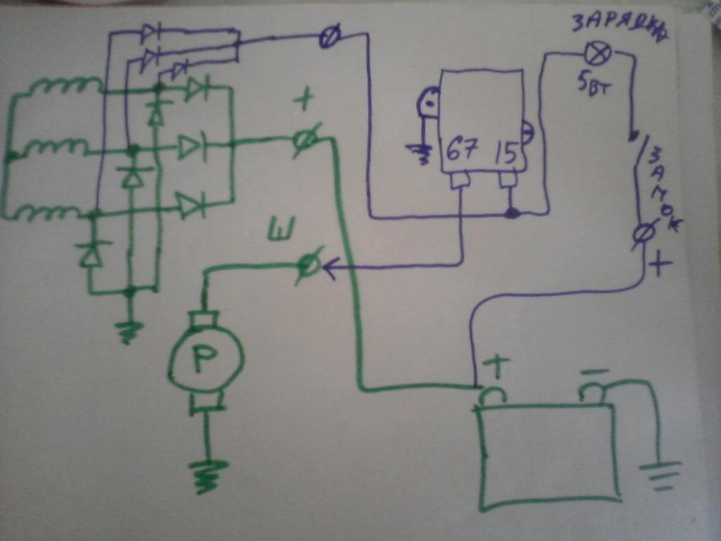 схема подключения системы генератора на ваз 2101