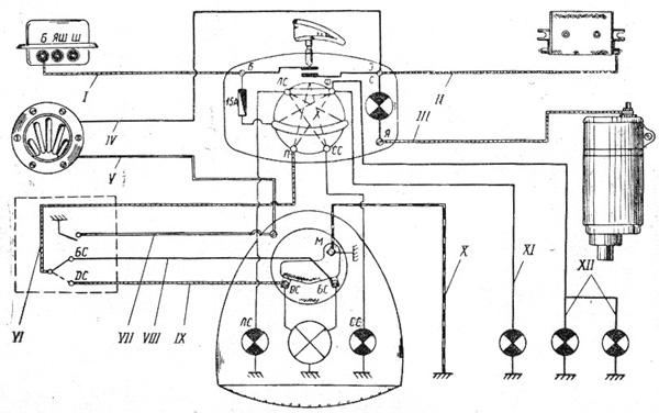 Электрическая схема мотоцикла УРАЛ-2 модель М-63.